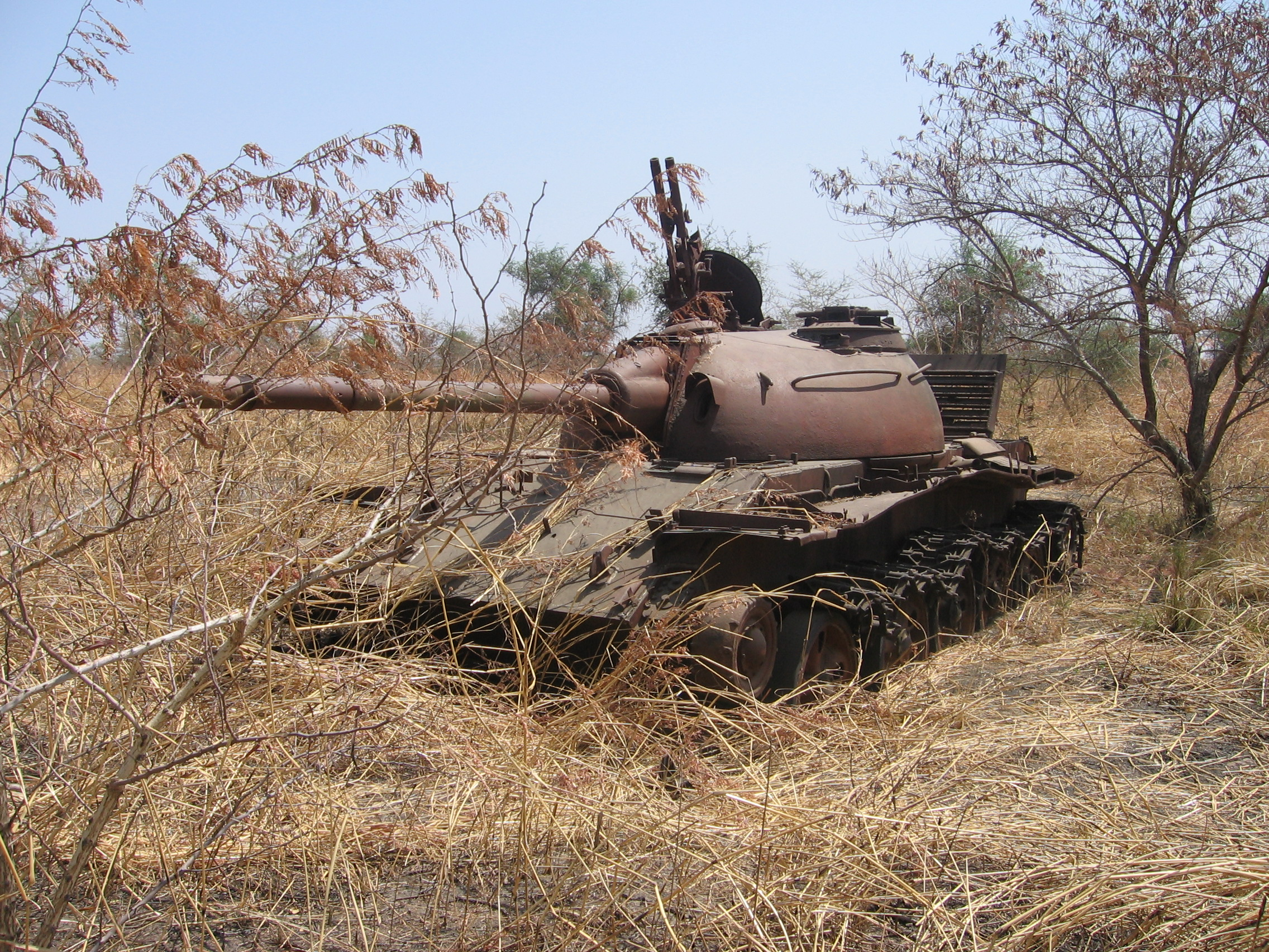 Abandoned Sudanese tank outside Malakal, Upper Nile State. The area here was heavily contested during the 1983-2005 war (Photo: Simon Roughneen)