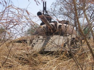 Destroyed Sudanese army tank, outside Malakal (Simon Roughneen, Feb 2006)