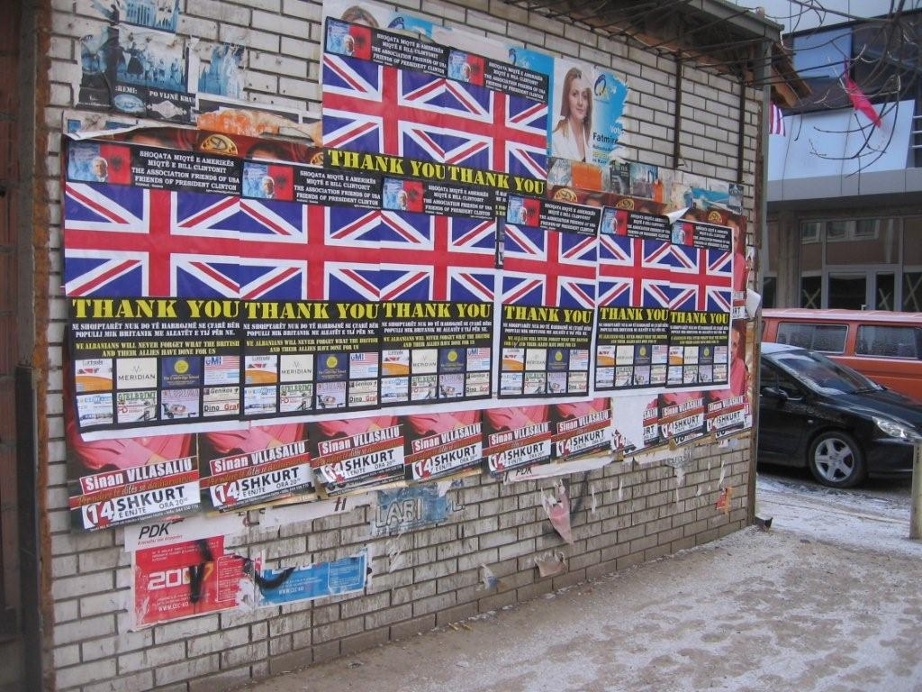 Pristina street. Kosovo thanks the UK (Photo: Simon Roughneen)