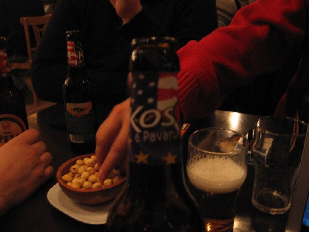 Kosovo's Peja beer, with commemorative independence logo (Simon Roughneen)