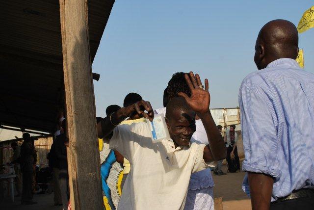 Ready to vote. Inside the polling station at Konyo-Konyo, Juba (Photo: Simon Roughneen)