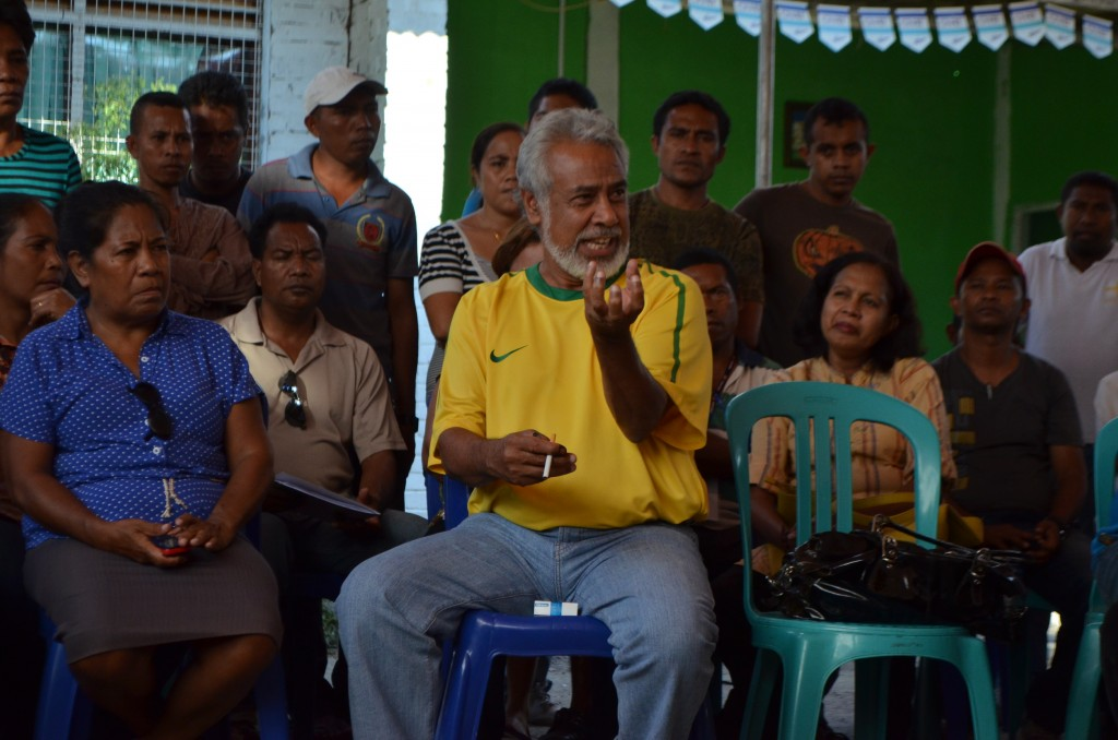 Former East Timor PM Xanana Gusmao holds court at CNRT meeting on July 8  2012, after winning parliamentary elections (Photo: Simon Roughneen)