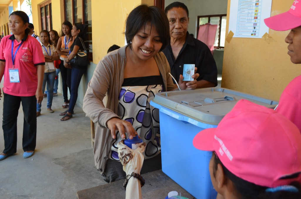 Jacquelina Sarmento after voting at Farol in Dili (Photo: Simon Roughneen)