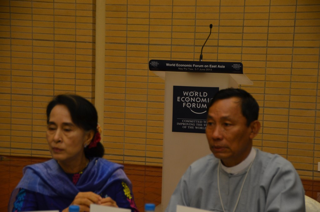 Aung San Suu Kyi and Shwe Mann at the WEF in Naypyidaw, June 2013. (Photo: Simon Roughneen)
