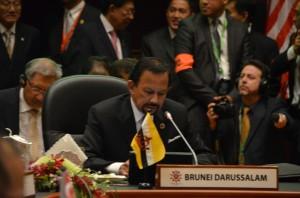 Sultan Hassanal Bolkiah chairing the ASEAN-US summit in Bandar Seri Bagawan in Oct. 2013 (Photo: Simon Roughneen)