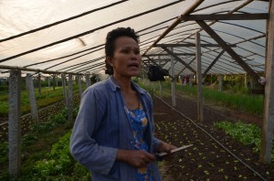 Bounloum Phonimavong speaks to TER at her organic farm (Photo: Simon Roughneen)