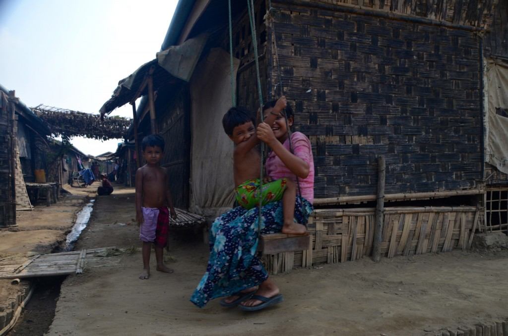 Rohingya children play inside Dar Paing camp near Sittwe, Rakhine State (Photo: Simon Roughneen)