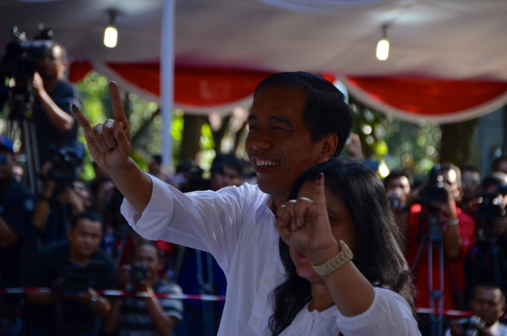 Joko Widodo and wife Iriana after voting in central Jakarta on April 9 2014 (Photo: Simon Roughneen)
