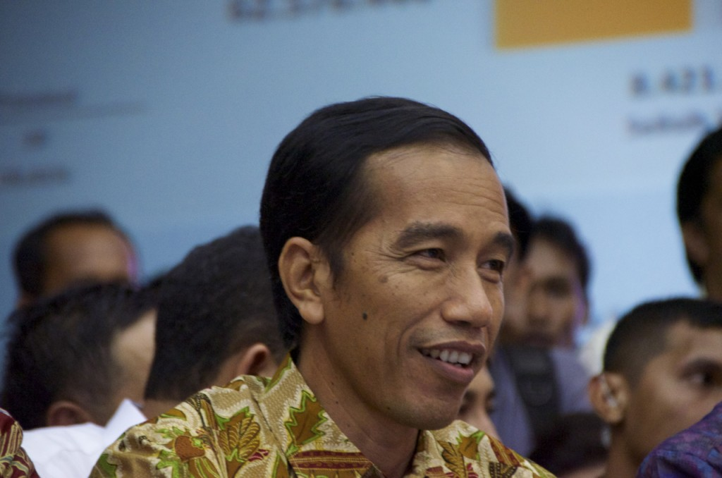 Joko Widodo listens as Indonesia's election commission declares him the winner of the 2014 Presidential vote (Photo: Simon Roughneen)