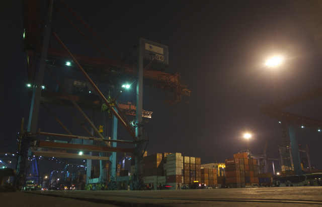 At Jakarta's Tanjung Priok port (Photo: Simon Roughneen)