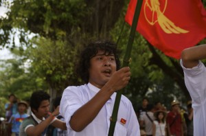 Student protestor in Yangon, seeking reform of Myanmar's education system (Photo: Simon Roughneen)