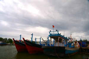 Fishing boats moored at Banda Aceh (Photo: Simon Roughneen)
