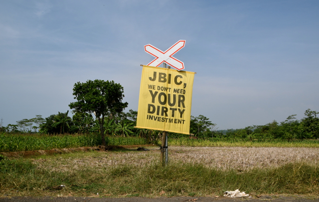 Anti Batang Coal Plant sign on the road leading to the plant's proposed location (Photo: Simon Roughneen)