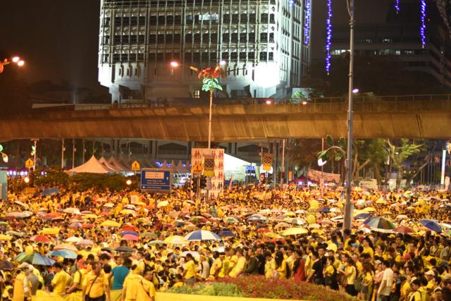 Protestors gathered on the streets around Merdeka Sq. in Kuala Lumpur, on Aug. 30 (Photo: Simon Roughneen)