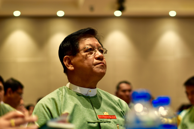 Election commission head Tin Aye at meeting with Myanmar's political parties in mid October (Photo: Simon Roughneen)