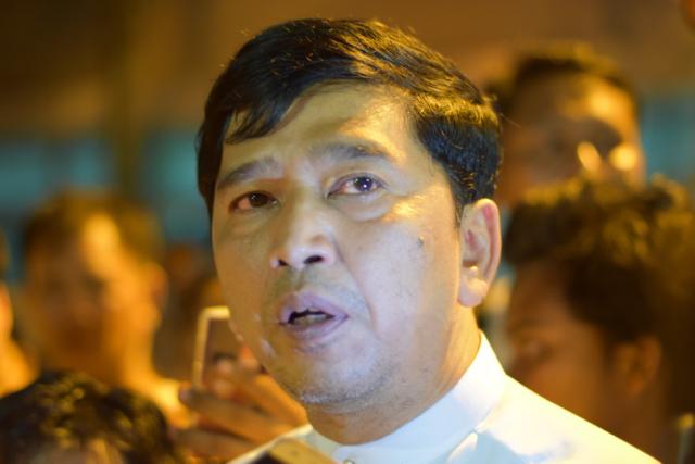 Min Ko Naing, a renowned former student leader and activist, speaks at Rangoon hospital following a machete attack on a Naing Ngan Lin, a NLD MP campaigning to retain his seat (Photo: Simon Roughneen)