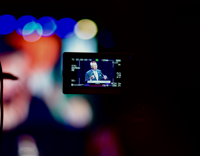 Malaysian Prime Minister Najib Razak on camera as he gives a speech at the ASEAN summit in Kuala Lumpur on Nov. 21 2015 (Photo: Simon Roughneen)