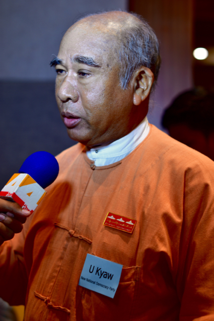 U Kyaw of the New National Democratic Party speaking to media in Yangon in mid-October (Photo: Simon Roughneen)