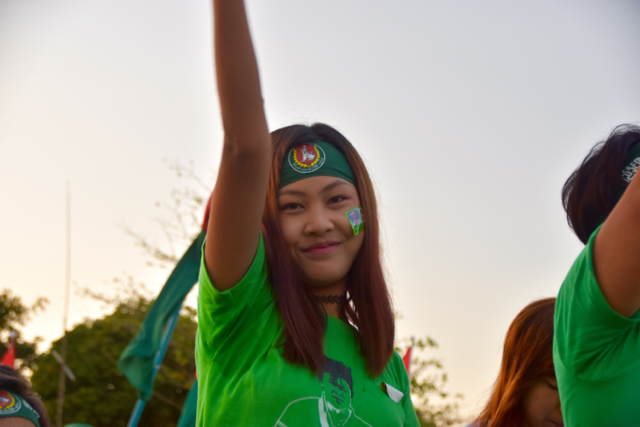 278 - USDP supporter at the ruling party's final campaign rally in Yangon on Nov. 6 (Photo: Simon Roughneen)