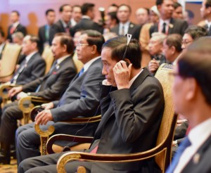 donesia President Joko Widodo pictured at the November 21-22 ASEAN and related summits, during which the ASEAN community agreement was signed (Photo: Simon Roughneen)