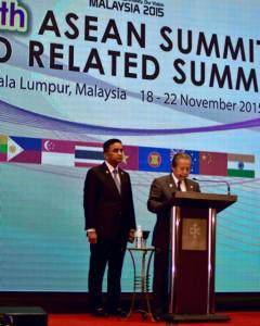 Malaysia Foreign Minister Anifah Aman speaks at press conf. in Kuala Lumpur on Nov. 20 2015 (Photo: Simon Roughneen)