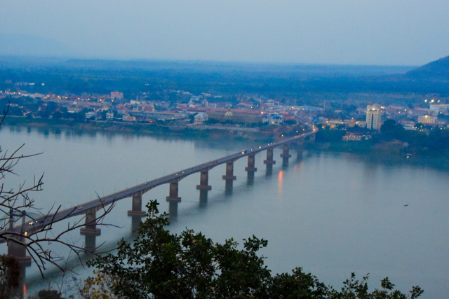View over Pakse and the Lao-Nippon bridge crossing the Mekong River (Photo: Simon Roughneen)