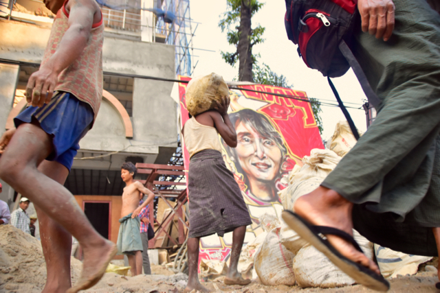 Construction workers busy renovating the NLD headquarters in Yangon (Photo: Simon Roughneen)