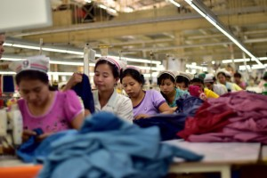 At work inside Opal International garment factory in Yangon (Photo: Simon Roughneen)
