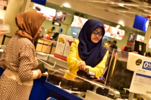 At checkout inside IKEA's Indonesia outlet west of Jakarta (Photo: Simon Roughneen)