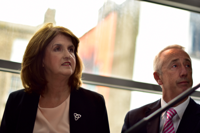 Labour leader Joan Burton and party colleague Kevin Humphries in Dublin on Feb. 17 2016 (Photo: Simon Roughneen)