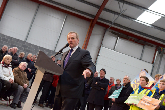 Enda Kenny addressing Fine Gael party members in Castlebar on Feb. 20 2015 (Photo: Simon Roughneen)