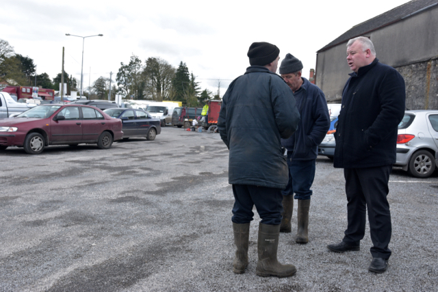 Independent parliamentarian canvasses voters in Castlerea on Feb. 25 2015 (Photo: Simon Roughneen)