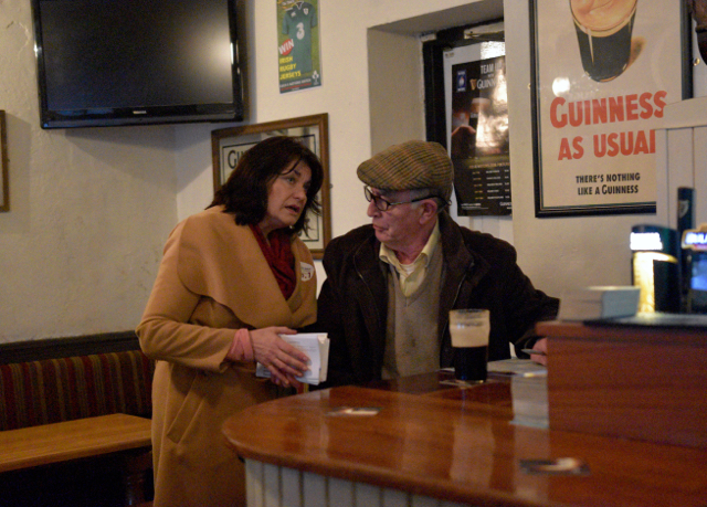 Independent candidate Fidelma Healy Eames campaigning in Oranmore in the west of Ireland on Feb. 25 2016 (Photo: Simon Roughneen)