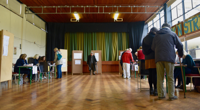 Voting in Westport during Ireland's national elections on Feb. 26 2015 (Photo: Simon Roughneen)