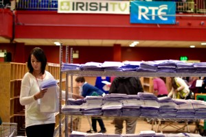 Sorting votes at the Castlebar count centre on Feb. 27 2015 (Photo: Simon Roughneen)