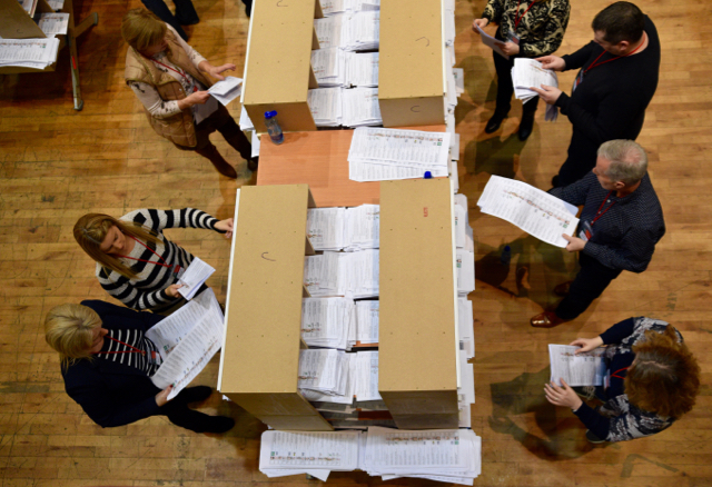 Vote counting in Castlebar on Feb. 27 2015 Photo: Simon Roughneen)