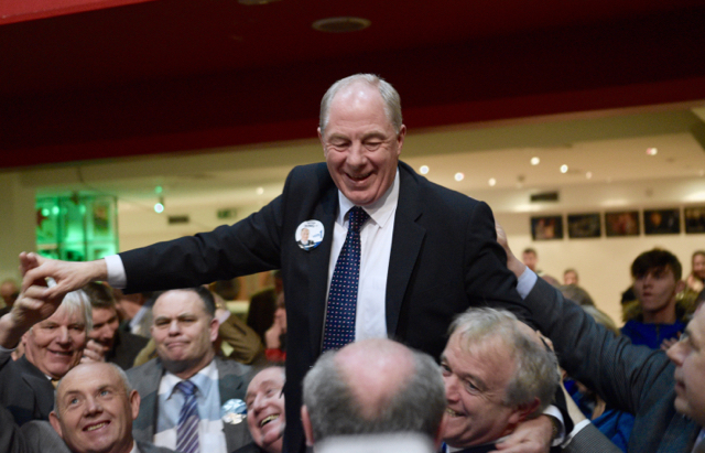 Michael Ring celebrates after winning Mayo's second seat on Feb. 28 2015 (Photo: Simon Roughneen)