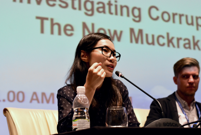 Yolanda Ma speaking at the International Anti Corruption Conference in Putrajaya on Sept. 4 2015 (Photo: Simon Roughneen)