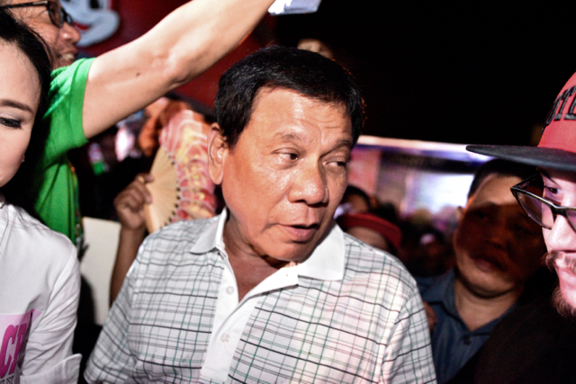 New Philippine President Rodrigo Duterte campaigning in Angeles City on March 19 2016 ,  prior to the May 9 2016 elections (Photo: Simon Roughneen)
