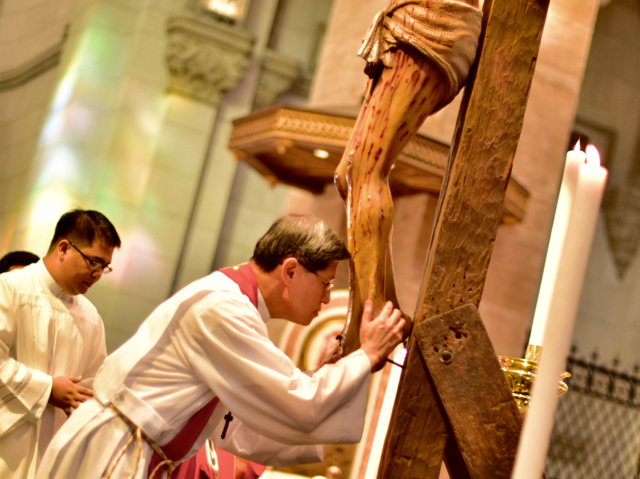 Cardinal Luis Tagle, Archbishop of Manila, during Good Friday service at Manila Cathedral on March 25 2016 (Photo: Simon Roughneen)
