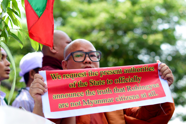 Protesting at the US embassy in Yangon on April 28, monk asks the new Myanmar government to say that Rohingya are not citizens of the country (Photo: Simon Roughneen)