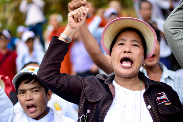 Woman chants anti-Rohingya slogans outside the US embassy in Yangon on April 28 (Photo: Simon Roughneen)
