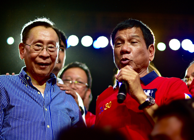 Rodrigo Duterte (red shirt) the newly elected president of the Philippines, speaking at Manila's Rizal Park on May 7, 2016 (Photo: Simon Roughneen)