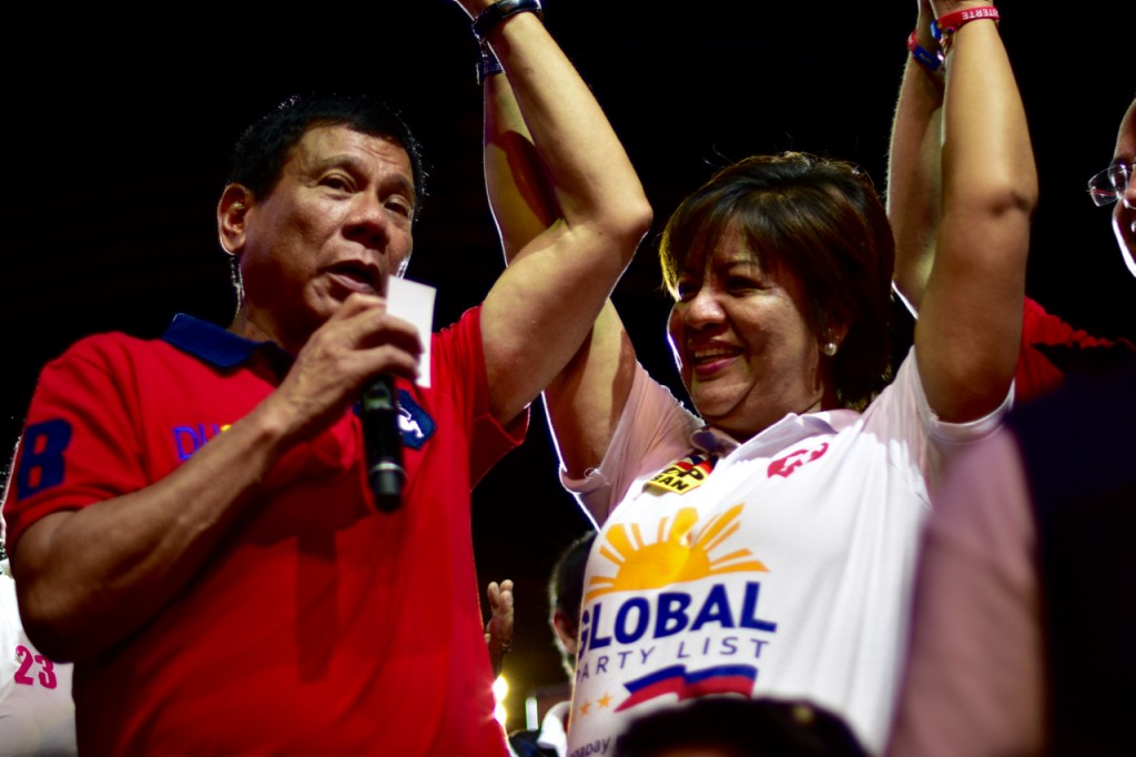 Newly-elected president Rodrigo Duterte pictured at his final pre-election rally in Manila on May 7 2016 (Photo: Simon Roughneen)