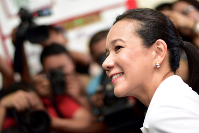 Senator Grace Poe, a candidate for the presidency, pictured after voting on May 9 2016 in Manila (Photo: Simon Roughneen)
