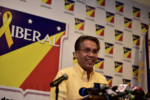 Candidate Mar Roxas conceding defeat in the Philippine presidential election in Quezon City, Manila, on May 10 (Photo: Simon Roughneen)