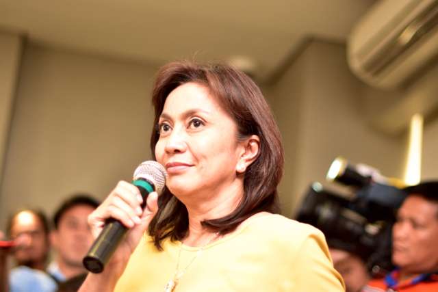 Leni Robredo, the vice-presidential candidate backed by the outgoing Aquino administration, speaking at a May 10 press conference (Photo: Simon Roughneen)