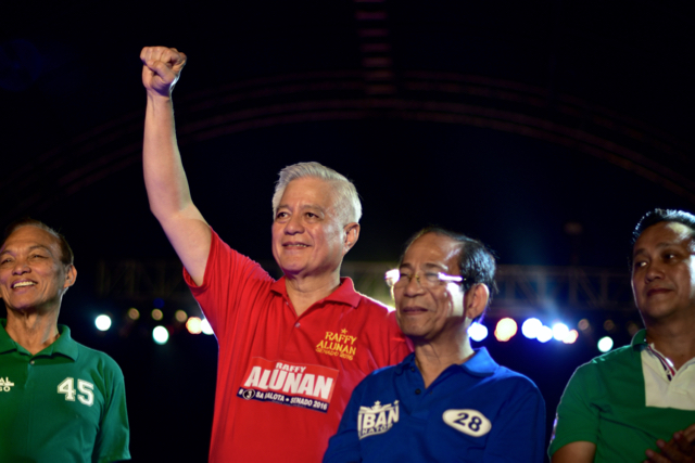 Philippine lawmakers show support for Duterte's presidential candidacy at final campaign rally in Manila on May 9 (Photo: Simon Roughneen)