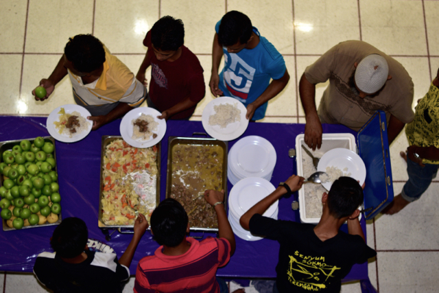 The iftar meal dished out at the National Mosque in Kuala Lumpur. (Photo by Simon Roughneen)
