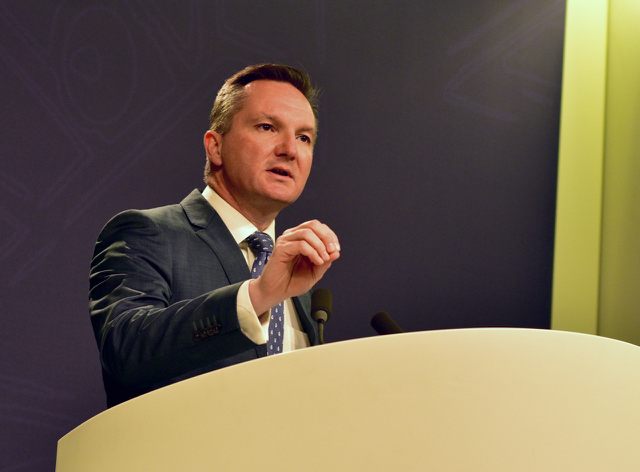 Shadow treasurer Chris Bowen of the Australian Labor Party speaking at press conference in Sydney on June 27 (Photo: Simon Roughneen)